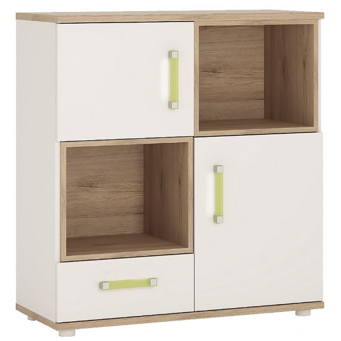 4KIDS 2 door 1 drawer cupboard 2 open shelves light oak & white high gloss